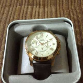 Brand New Fossil Grant Chronograph Brown Leather Watch