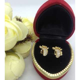 Authentic Bangkok Gold 10k Saudi Gold Little Feet Stud Earrings with Zirconia Stones Non Tarnish (Not Pawnable)