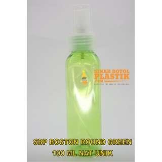 Botol Boston round 100 ml Green spray