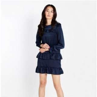 BRAND NEW Kalisha Long Sleeve Ruffle Dress - Navy