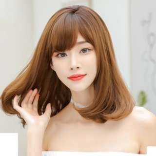 Korean Shoulder Length Side Fringe Full Wig For Daily Use (Ombre Brown with Black Roots Mix/Natural Black/Chocolate Brown)