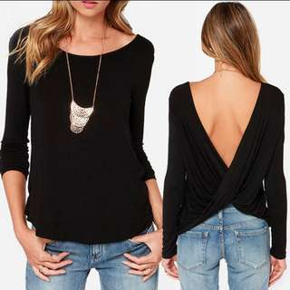 Black Top long sleeve round collar shirt / sexy pleated cross wrapped backless top