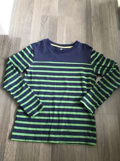 Uniqlo 8-10Y Blue/Green Stripped Long Sleeve Pullover