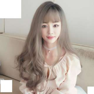 Korean Side-Part Air Fringe Long Curly Wavy Full Wig For Daily Use (Ombre Grey/Ombre Pink/Ombre Brown/Ombre Blonde/Natural Black/Chocolate Brown)