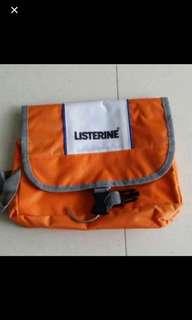 Brand new listerine Orange Toiletries toiletry Travelling Bag