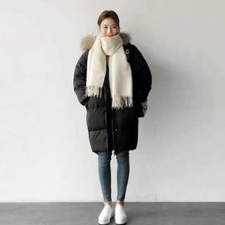 🚚 韓版黑色羽絨棉長外套