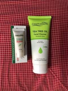 Cosmoderm facial cleanser & tea tree oil