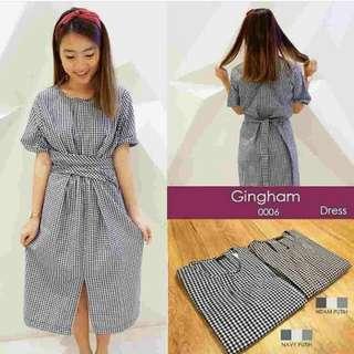 Pakaian Wanita Gingham Dress
