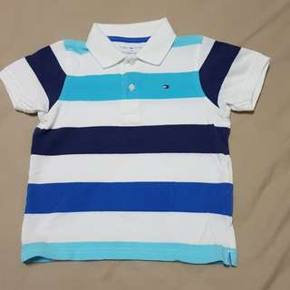 Kid's 4T Tommy Hilfiger White/Blue/Dark Blue Polo T, Kid's Clothes