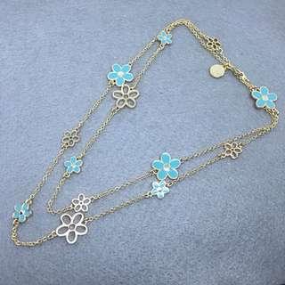 Marc Jacobs Sample Necklace 藍色配金色花花頸鏈