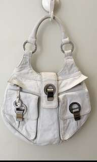 AJ white leather shoulder bag
