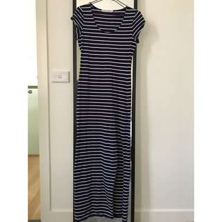 Navy Striped Maxi w Slit
