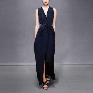 Navy Blue Full Length Evening Dress