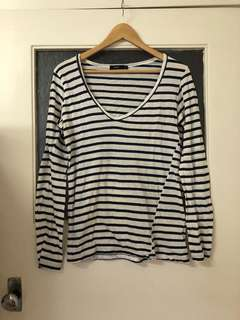 BASSIKE Navy/White striped long sleeve