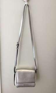 Armani Exchange women silver shoulder strap bag