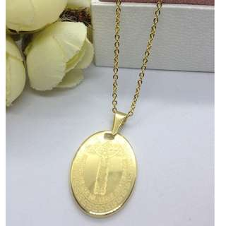 Authentic Bangkok Gold 10k Saudi Gold Chain Necklace & Religious Pendant Holy Cross Pendant Non Tarnish (Not Pawnable)