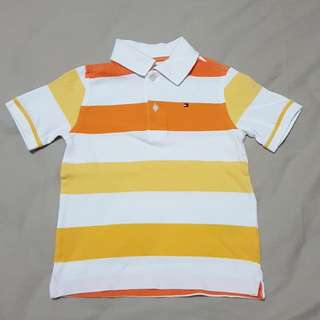Kid's 4-5T Tommy Hilfiger Orange/White/Yellow Polo T, Kid's Clothes
