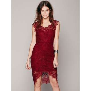 Free People Bodycon Peekaboo Lace Slip Dress NEW!