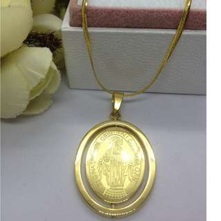 Authentic Bangkok Gold 10k Saudi Chain Necklace & Rotating Religious Pendant Non Tarnish (Not Pawnable)