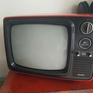 80s sharp red TV for deco