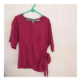 Baju blouse maroon