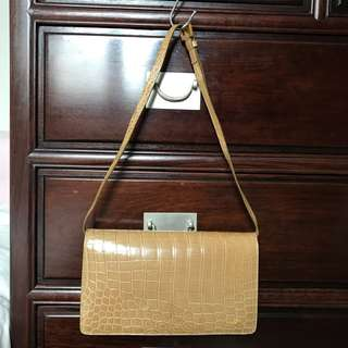 Kwanpen beige crocodile leather 杏色鱷魚皮hand bag