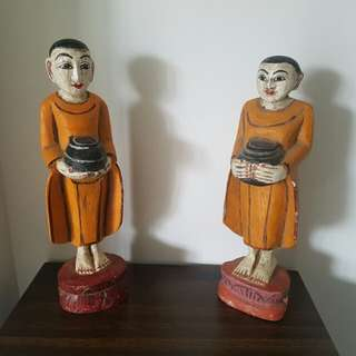 2 wood statues from burma