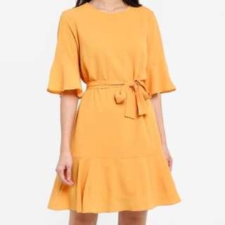 Zalora Flare Hem Dress in Yellow