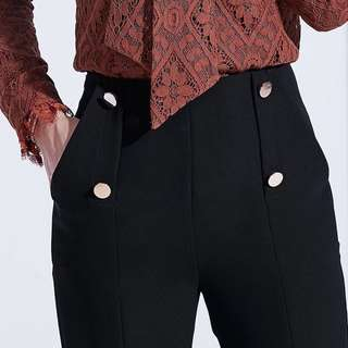 High Waist straight leg black women's trousers pants