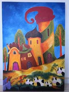 Canvas painting Mushroom House