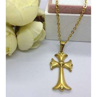 Authentic Bangkok Gold 10k Saudi Gold Chain Necklace & Religious Pendant Holy Cross Pendant Non Tarnish (Not Pawnable)