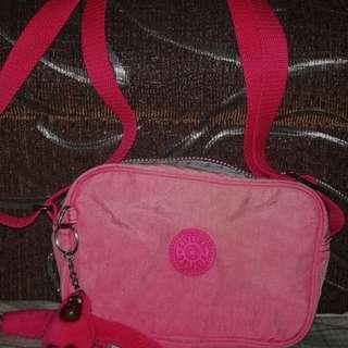 Authentic Preloved kipling sling bag hot pink