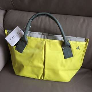 New Agnes b Nylon Yellow Handbag