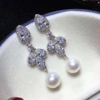 100%天然淡水珍珠14k材質正圓珍珠加晶配件