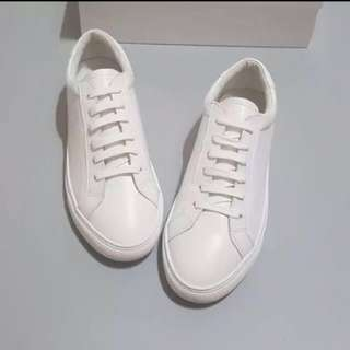 Korean In-Style Plain White Leather Casual Flat Shoes - Brand New Ulzzang