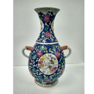 Special Artistic Porcelain Ornamental Vase Hand-painted long neck shape with handles and design of cranes in arabesque panel