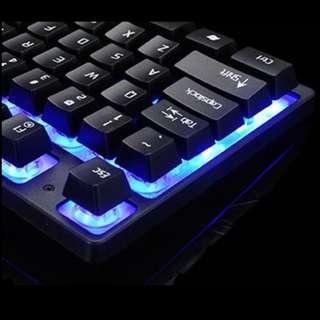 Rainbow Backlit Black Mechanical Gaming Keyboard