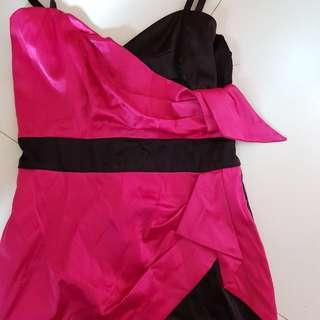 Hot pink satin cocktail dress