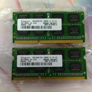 KINGSTON 2GBx2 DDR3-1066 Notebook Ram
