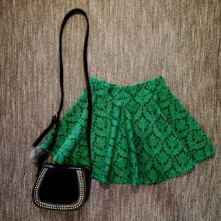 Green Printer Skater Skirt