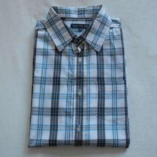 White & Blue Hangten Checkered Shirt
