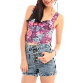 blogshop floral bralet ( purple )