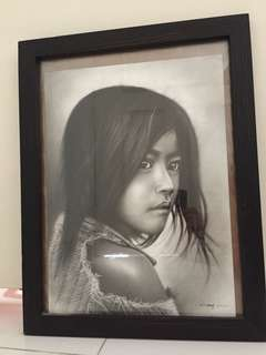 Black and white painting Gazing Girl