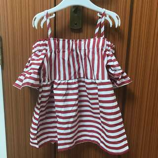 (CLEARANCE) Red stripes off shoulder dress