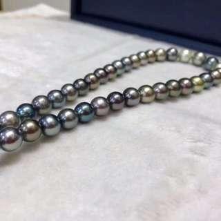 100%天然大溪地黑珍珠絕色8-12mm勁鏈