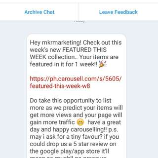 Featured Seller😂😍 Thank you so much Admin of Carousell