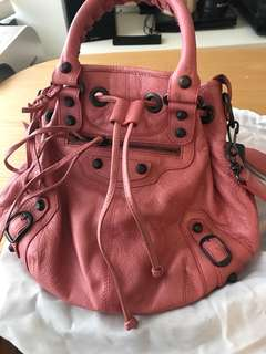 Balenciaga pink leather bag