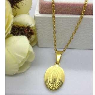 Authentic Bangkok Gold 10k Saudi Gold Chain Necklace & Religious Pendant Oval Pendant Non Tarnish (Not Pawnable)