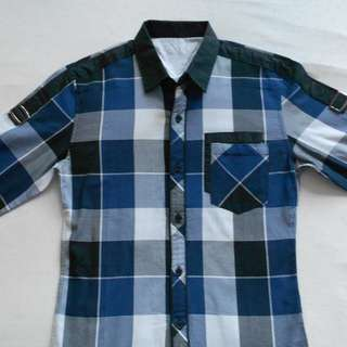 White & Blue Natural Project Checkered Shirt