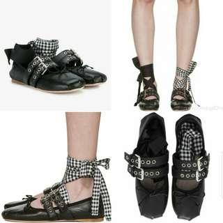 Miu Miu Double Buckle Nappa Ballerina 皮鞋